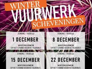 Xena Vuurwerk verzorgt op 4 zondagen in december 2019 de wintervuurwerken in Scheveningen met vuurwerkshows vanaf het strand